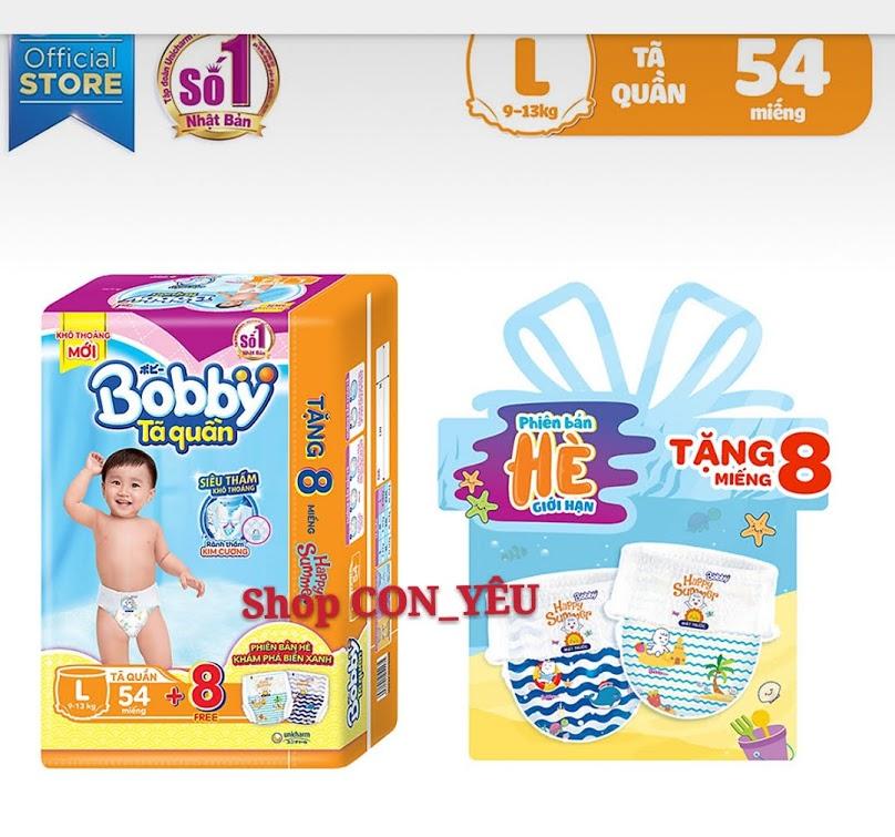 TPHCM - Bỉm - Tã Quần Bobby L54 Tặng Thêm 8 Miếng Tã Quần Cùng Loại Cho Bé Từ 9 - 13kg Đang Khuyến Mãi