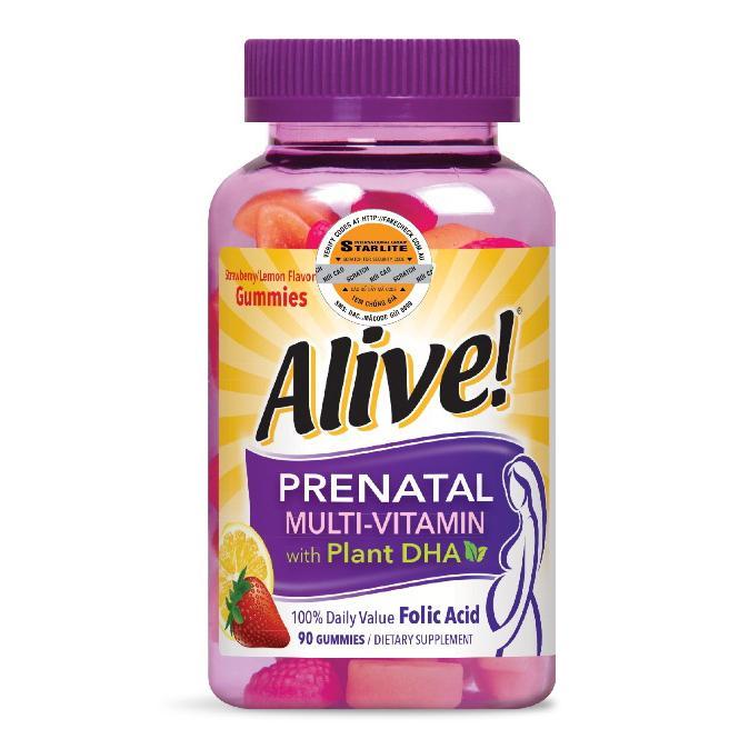 Vitamin Tổng Hợp Bà Bầu Natures Way Alive Prenatal Multi-Vitamin With Plant DHA 90 Viên HSD 01/2020 nhập khẩu