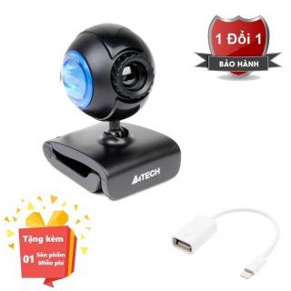 ( Tặng kèm Dây OTG kết nối cho điện thoại cổng Lightning ) Webcam tích hợp Micro cho máy tính, PC, Laptop A4tech 752F - Webcam học online tại nhà A4tech PK-752F - Webcam online kèm Micro 752F thumbnail