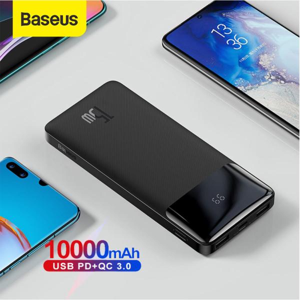 Pin dự phòng 15W Baseus Digital Display dung lượng 10000mAh, 3 Output, màn hình LCD hiện thị pin, thân vỏ nhám