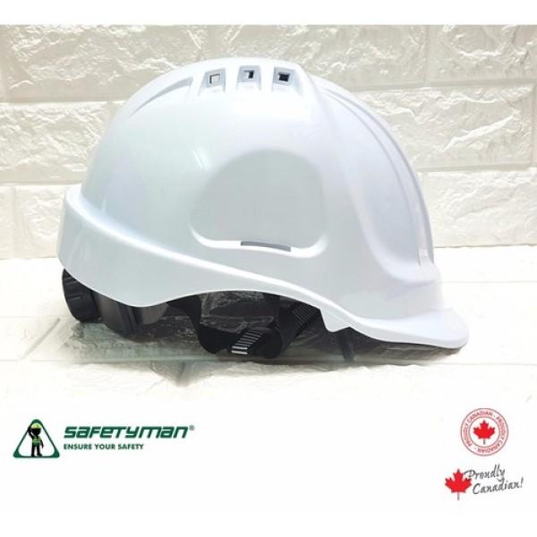 Nón bảo hộ Safetyman GM16 núm vặn sau, có lỗ thoát khí - màu trắng - GM16-TRANG