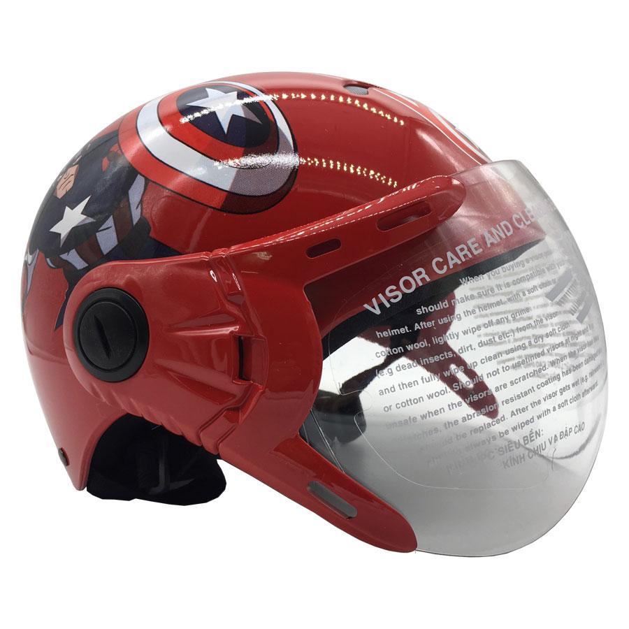 Giá bán Mũ bảo hiểm trẻ em nửa đầu có kính Protec Kitty- Họa Tiết Captain american