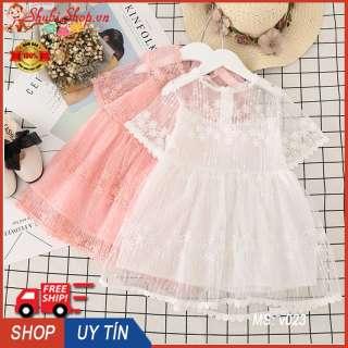Váy công chúa ren hoa cộc tay cho bé gái 6-16kg - V023 (Màu: hồng, trắng) - Váy bé gái, đầm bé gái dễ thương, váy hè, váy dạ tiệc - Đầm công chúa, dễ thương, đầm cho bé gái - Shop Chen - Shubi