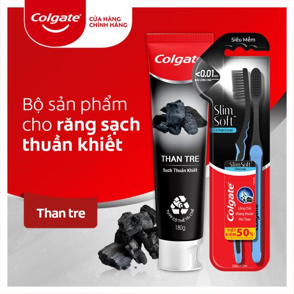 Bộ sản phẩm chăm sóc răng miệng Colgate từ thiên nhiên gồm kem đánh răng và 2 bàn chải từ̀ than tre hoạt tính