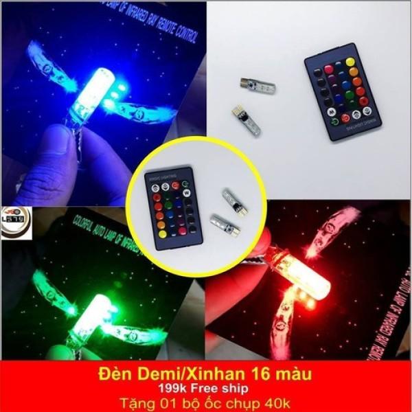 Đèn xi nhan demi 16 màu có remote cho các xe -  cặp bóng + remote