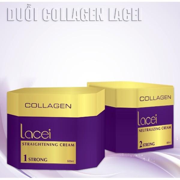 Thuốc duỗi tóc Collagen Lacei cao cấp siêu bóng mềm 500mlx2 giá rẻ