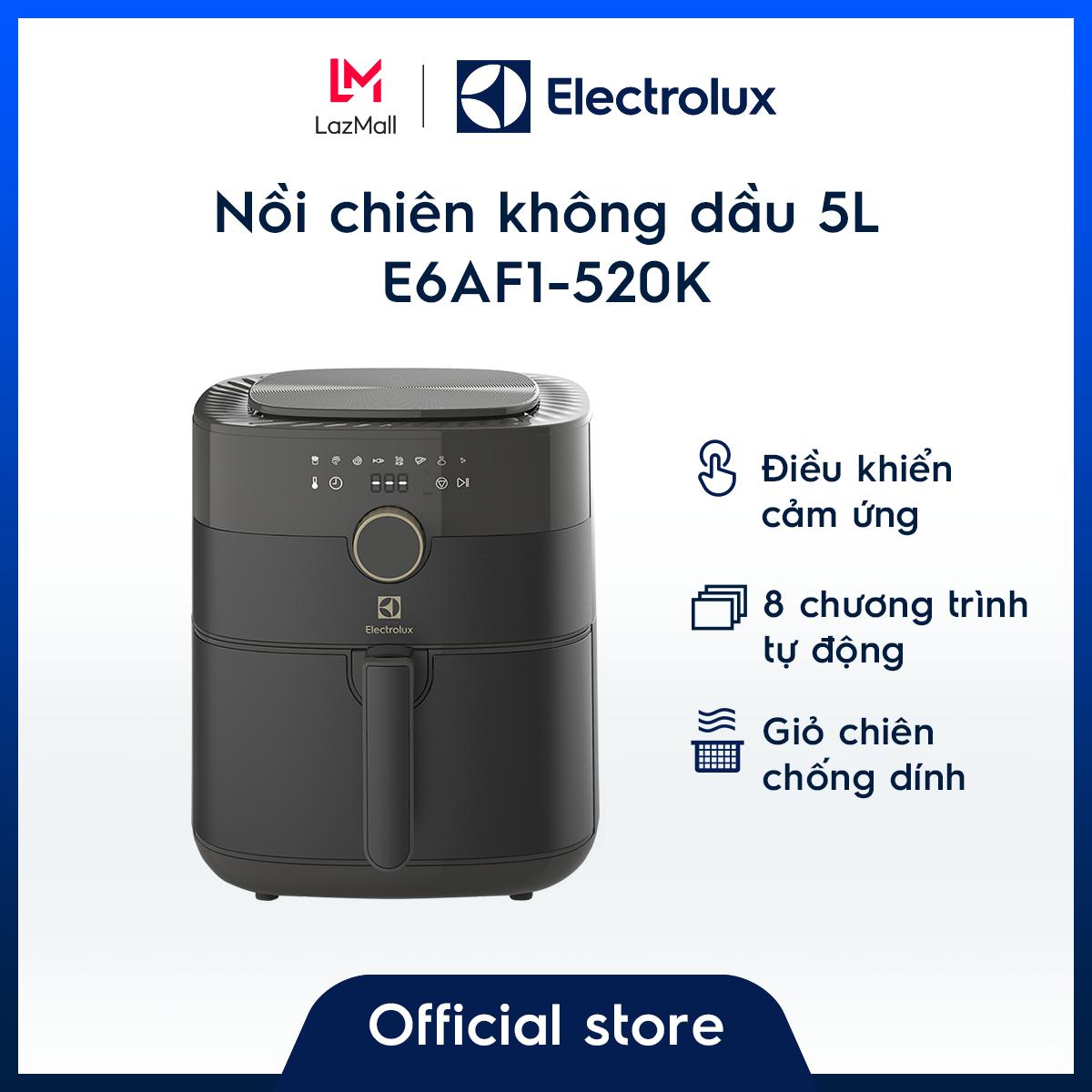Nồi chiên không dầu 5L Electrolux E6AF1-520K – Thiết kế sang trọng – Điều khiển cảm ứng điện tử - 8 chương trình tự động - Hàng chính hãng