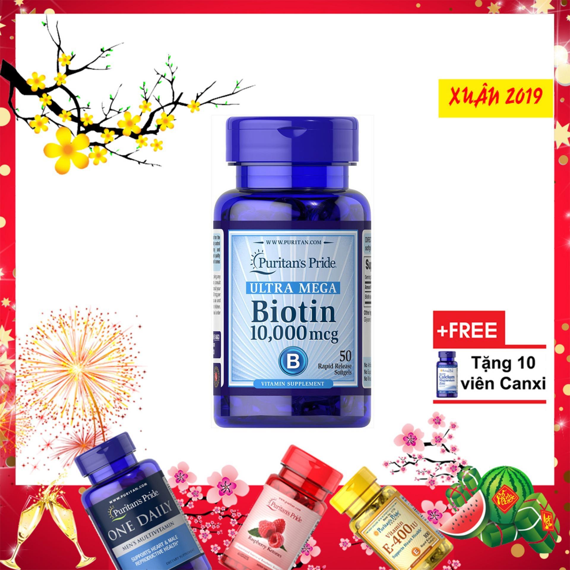 Viên uống mọc tóc Biotin 10,000 mcg 50 viên ,Giảm tóc gẫy dụng ,kiềm dầu cho da nhờn Ultra Mega biotin Puritan's pride
