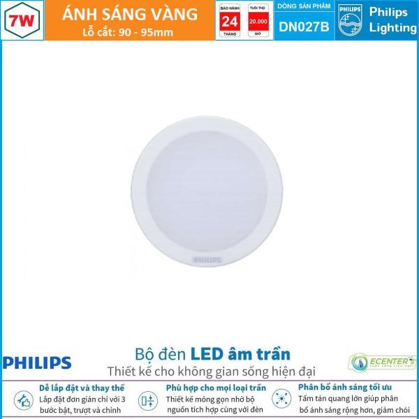 Đèn Led Âm trần 7W Philips Downlight DN027B LED6 D90 ( Ánh Sáng Vàng & Trung Tính & Trắng)