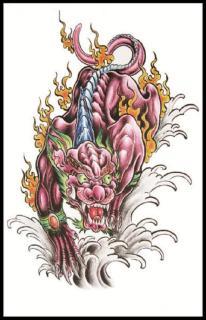 Hình xăm dán nam tatoo kỳ lân kích thước 15 x 21 cm - miếng dán hình xăm đẹp dành cho nam thumbnail