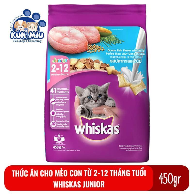 Thức ăn cho mèo con từ 2-12 tháng tuổi Whiskas Junior 450g
