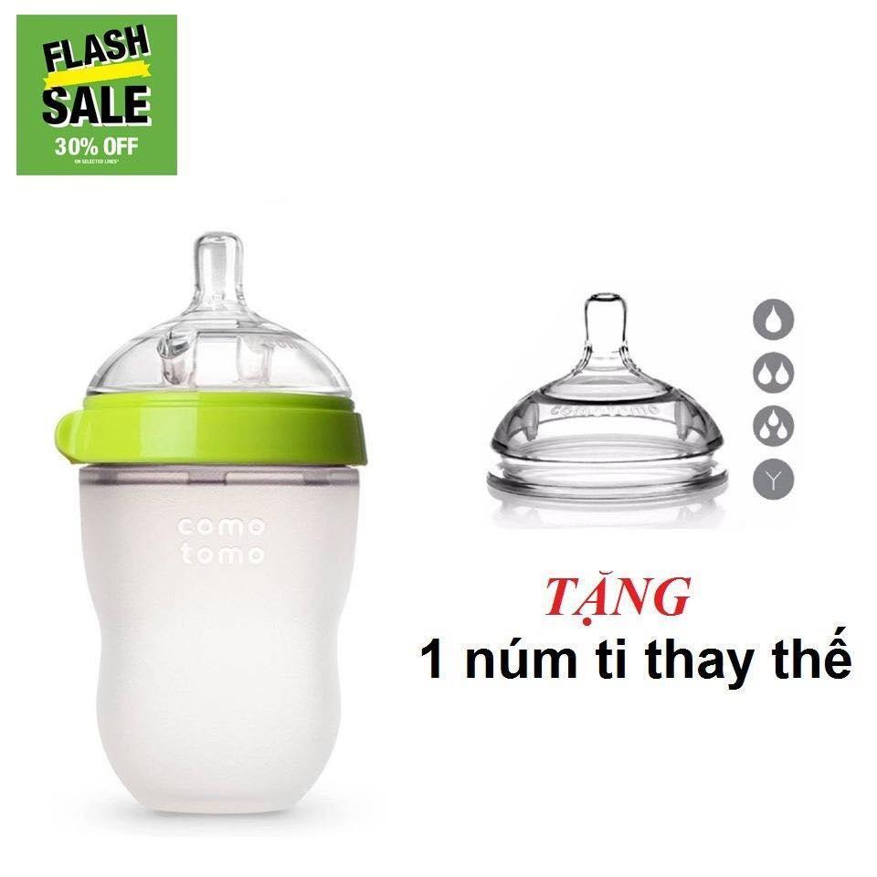 Bình Sữa Comotomo Loại 250ml Tặng Núm Ty Phù Hợp Với Bé