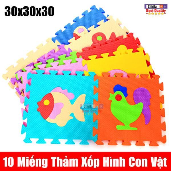 Bộ 10 Miếng Thảm Xốp Lót Sàn  - Thảm Lót Sàn Cho Bé Hình Thủ  ( 30x30x30cm )