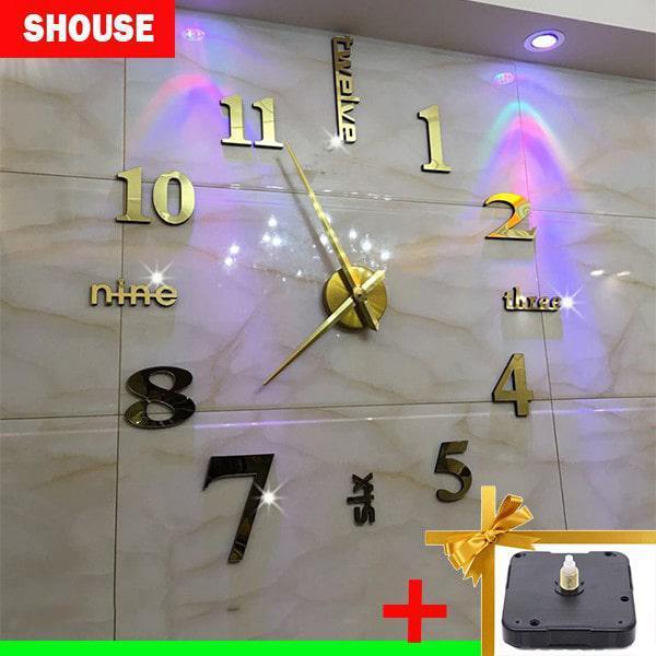 Nơi bán Đồng hồ treo tường 3D tặng máy đồng hồ kim trôi, loại dán tường cỡ lớn, kích thước 70cm-120cm
