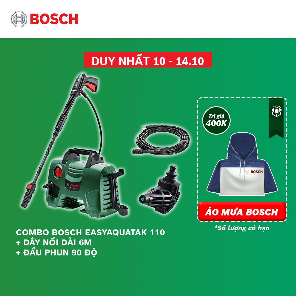 Combo Máy phun xịt rửa áp lực cao Bosch Easy Aquatak 110 + Dây nối dài 6m + Đầu phun 90 độ