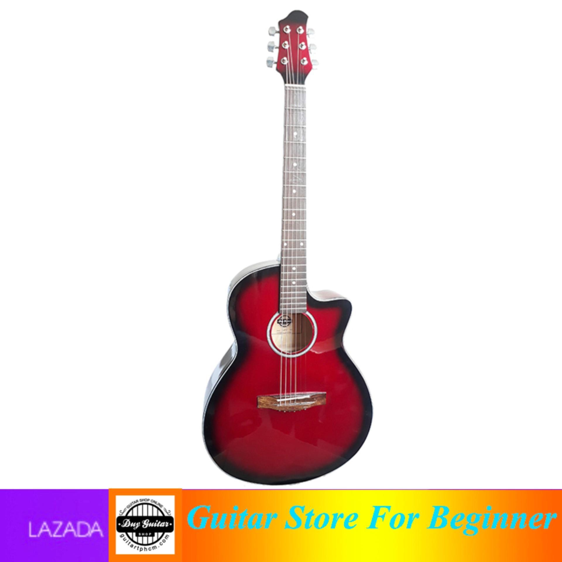 Đàn guitar Acoustic DVE85 ( đỏ mận ) + Tặng bao da - Duy Guitar chuyên đàn guitar giá tốt dành cho người mới tập - Shop Đàn Guitar Uy tín - Giá rẻ