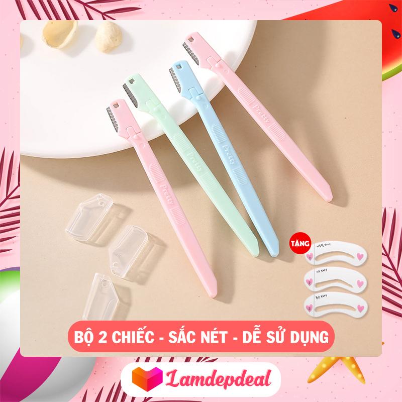 ♥ Lamdepdeal - Dao cạo lông mày MAGIC LADY - Bộ 2 dao cạo lông mày mini sắc bén, dao cạo chân mày nữ bảo vệ da an toàn.