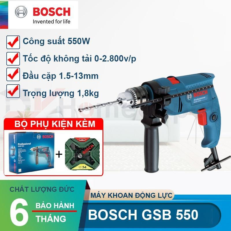 Máy khoan động lực Bosch GSB 550 và bộ mũi khoan 34 chi tiết Xline34