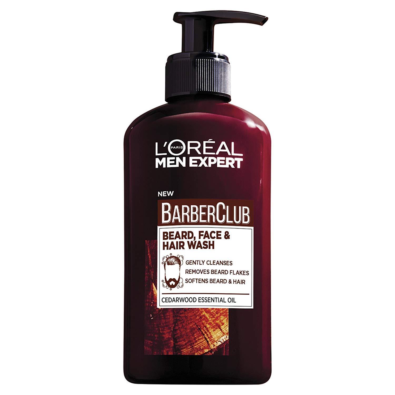 Gel 3 in 1 làm sạch râu, mặt và tóc LOreal Men Expert BarberClub Beard, Face & Hair wash cedarwood Essential Oil