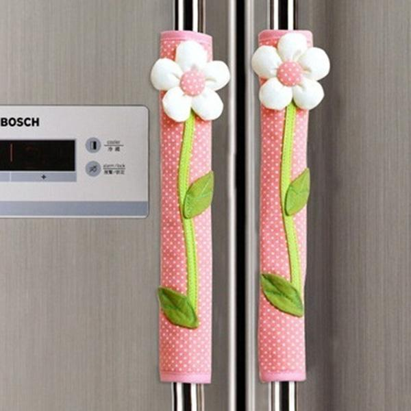 2PCS Pastoral Flower Polka Dot Door/Refrigerator Handle Cover Fridge Door Handle Gloves Home Decor Kitchen Accessories