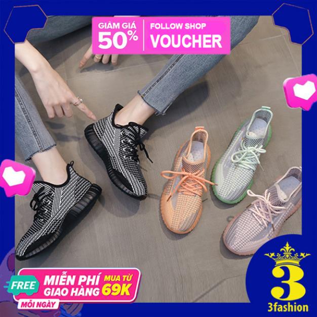 Giày Sneaker Nữ Yeezy Hoa Cúc 3Fashion Vải Canvas Đế Phản Quang - MSP 3225 giá rẻ