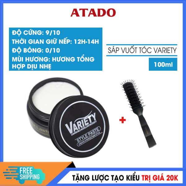 [Mua 1 Tặng 1] Sáp vuốt tóc nam Variety Matte Lasting 100ml ATADO - Wax vuốt tóc phù hợp mọi loại tóc kể cả tóc dầu, khả năng tạo phồng tốt, thành phần an toàn - Tặng lược tạo kiểu 20k