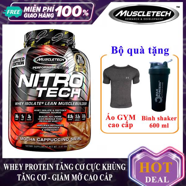 [TẶNG ÁO VÀ BÌNH LẮC] Sữa tăng cơ giảm mỡ cao cấp Whey Protein Nitro Tech của MuscleTech hộp 1.8 kg hỗ trợ tăng sức bền sức mạnh đốt mỡ giảm cân cho người tập gym và chơi thể thao - thuc pham chuc nang