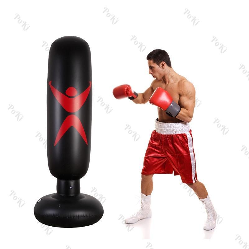 Trụ Tập đấm đá Boxing BƠM HƠI 1.6m , Bao Tập Võ PVC Di động Gấp Gọn Cao Cấp - POKI Có Giá Cực Kỳ Tiết Kiệm