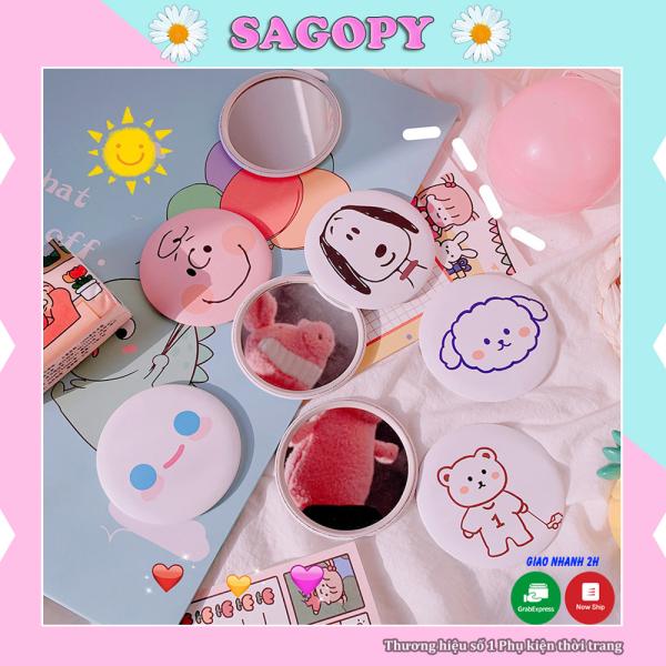 Gương mini cầm tay cute bỏ túi để bàn họa tiết hoạt hình, gương mini trang điểm 1 mặt Hàn quốc vintage giá rẻ Sagopy