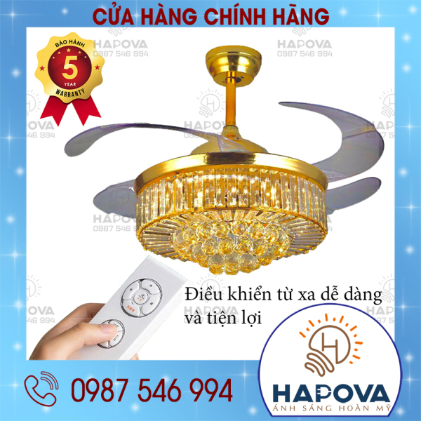 Bảng giá Đèn quạt trần đèn chùm quạt trần có đèn trang trí phòng khách hapova DQ 8018 + Tặng điều khiển từ xa