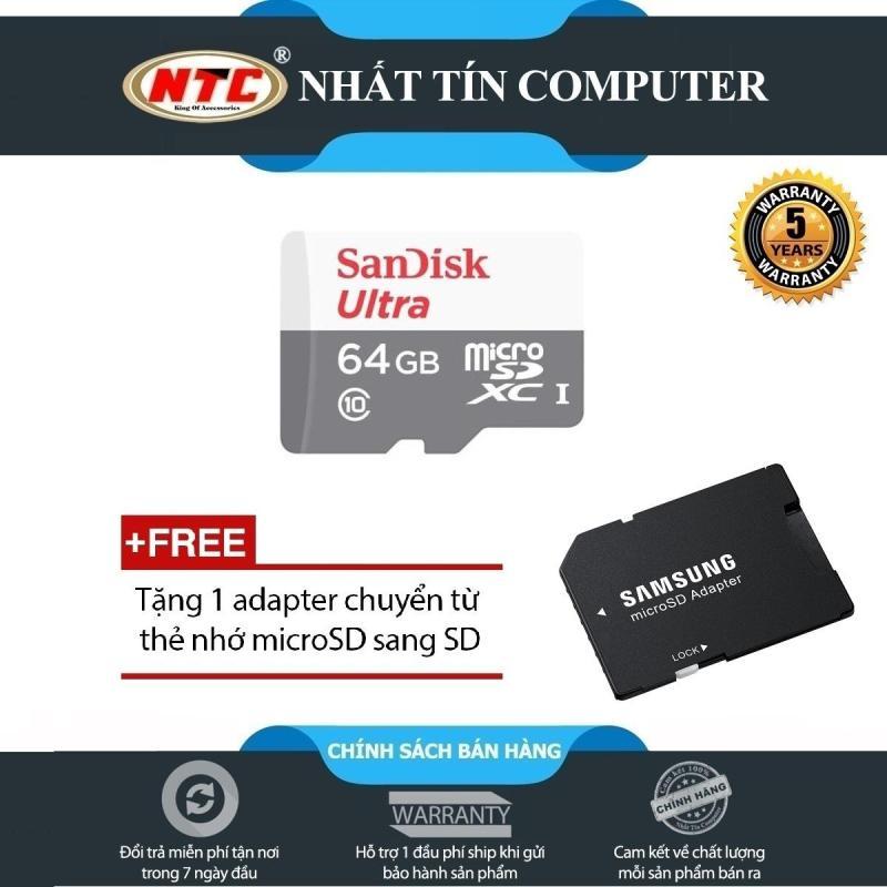 Thẻ nhớ MicroSDXC SanDisk Ultra 533X 64GB 80MB/s - Model 2017 (Trắng bạc) + Tặng kèm adapter Samung