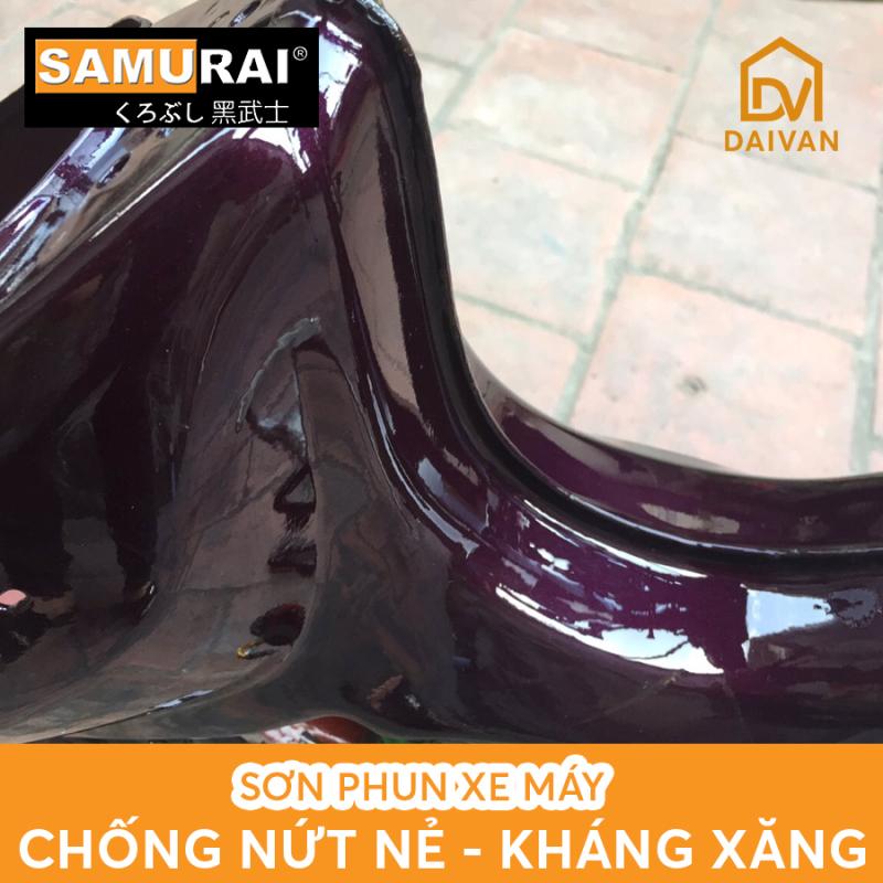 COMBO 4 chai sơn Samurai Lót-Nền-Màu-Bóng màu tím nho UC+TCH611 cho xe Dream