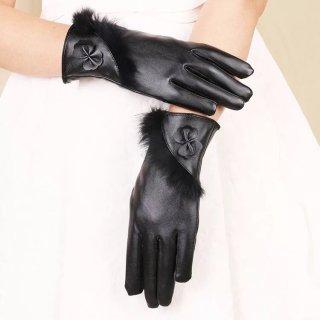 Bao tay nữ Găng tay da nữ cảm ứng mùa đông họa tiết dải lông thời trang thumbnail