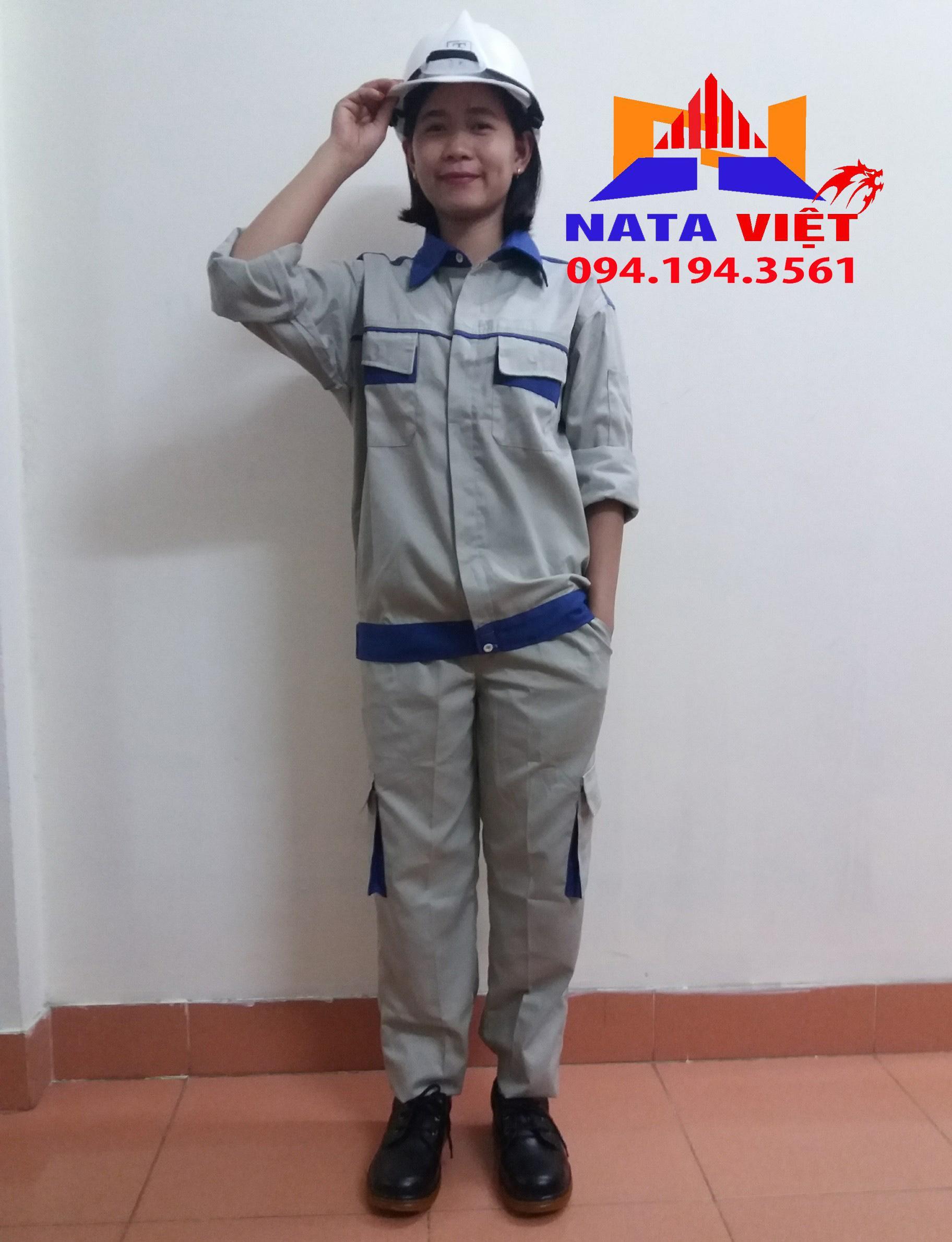 Bộ quàn áo bảo hộ lao động phối xanh