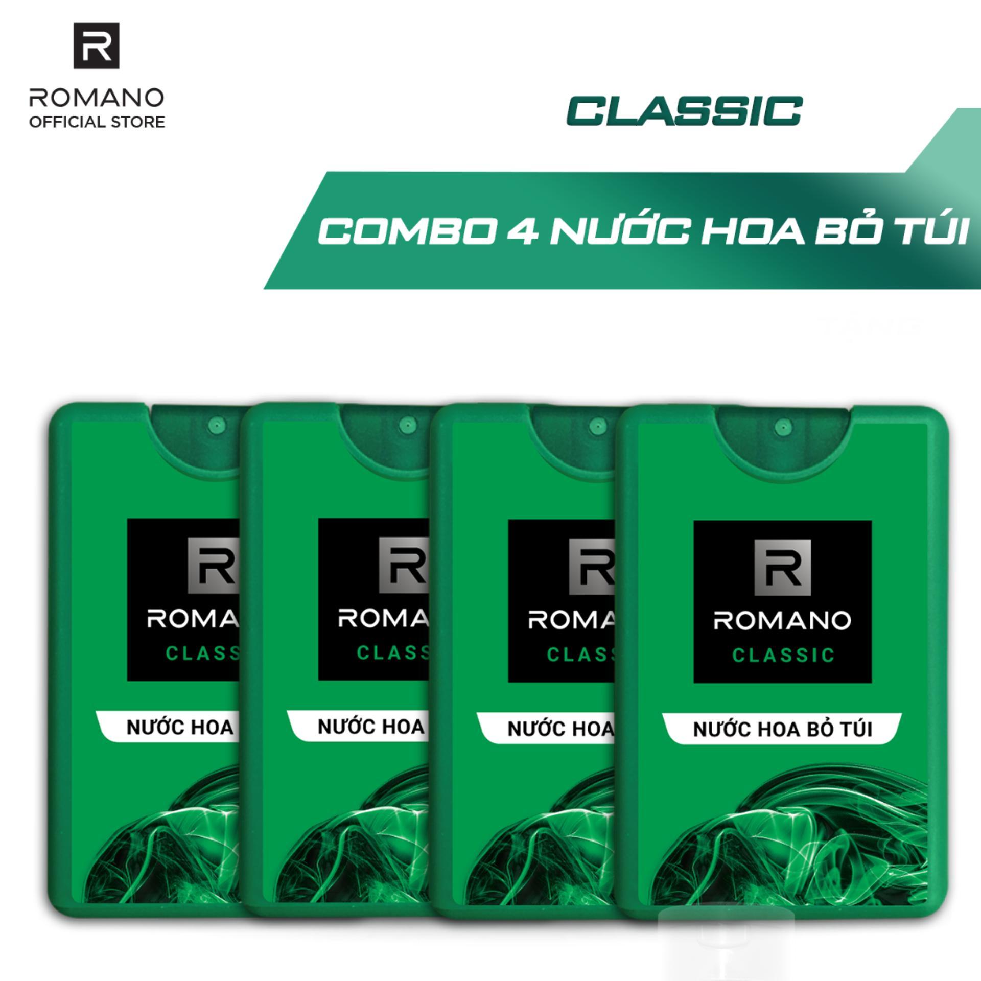 Combo 4 nước hoa bỏ túi Romano Classic cổ điển lịch lãm18ml cao cấp