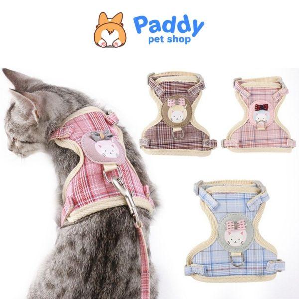[HCM]Dây Dắt Yếm Hình Mặt Mèo Sọc Caro Cho Chó Mèo