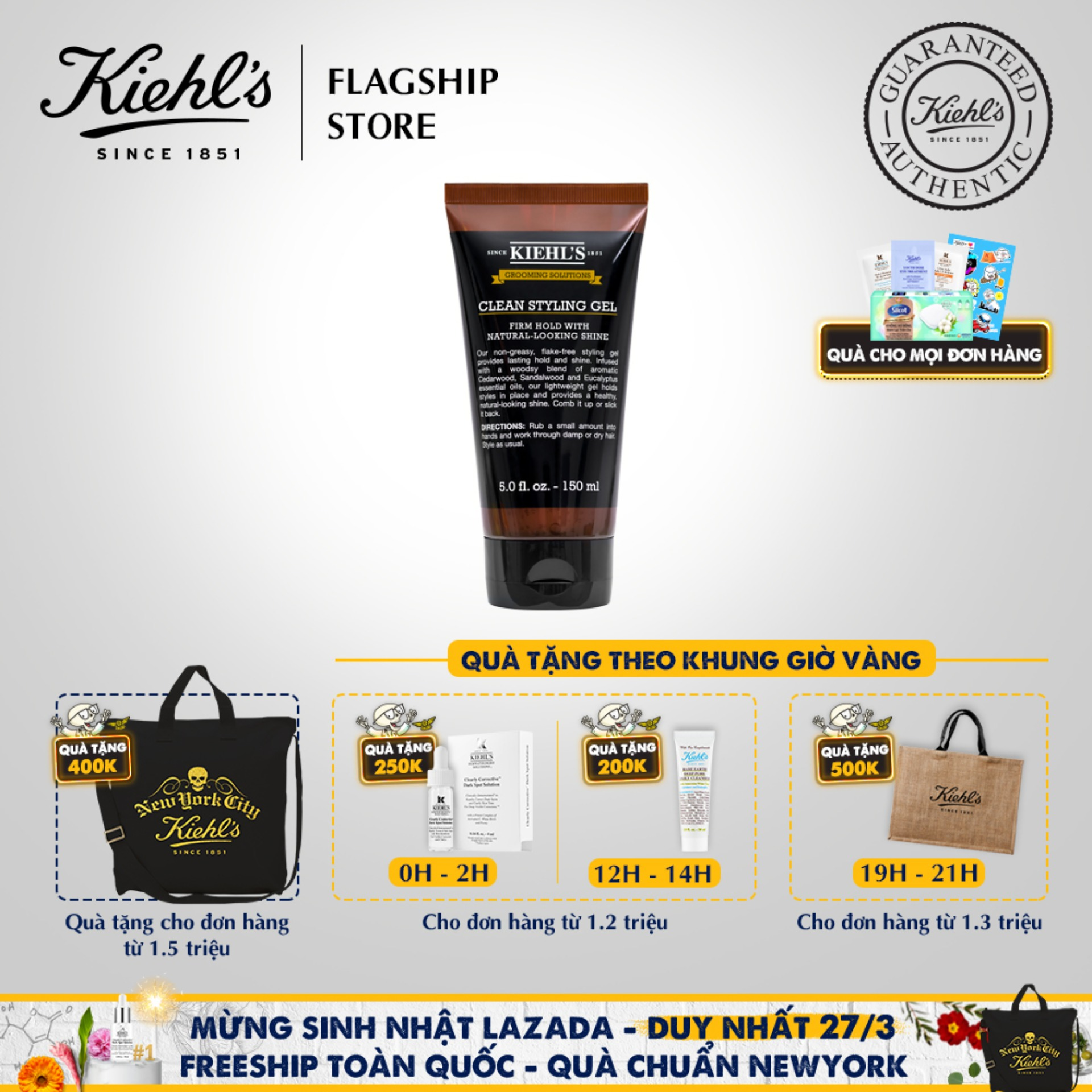 Gel Tạo Kiểu Tóc Kiehls Grooming Solutions Clean Hold Styling Gel Kiehls 150ml