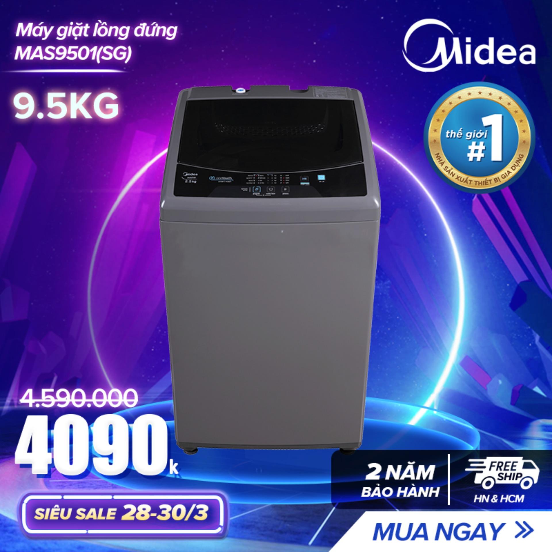 Bảng giá Máy giặt lồng đứng 9.5kg - (Thiết kế cao cấp - Sấy gió - Điều khiển tự động) Màu Trắng/ Xám Bạc Tự Chọn - Hàng Phân Phối Chính Hãng Bảo Hành 2 Năm Điện máy Pico