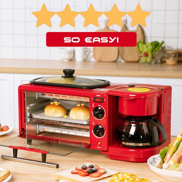 Lò nướng bánh rán nấu đa năng cao cấp kèm ấm đun nước chảo chống dính tiện dụng mini dung tích 9L
