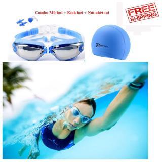 Set Mũ Kèm Kính Bơi, Mắt Kiếng Đi Biển, Kính bơi chống UV kèm nhét tai, Kính Bơi View V500S, Kính bơi tráng gương loại tốt - Kính Bơi Chuyên Dụng. Bảo Hành Uy Tín 1 đổi 1 thumbnail