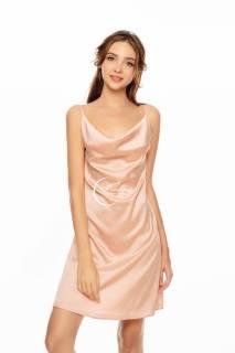 Dreamy- VS13 -Váy ngủ lụa cao cấp, váy ngủ nữ dáng suông trơn 2 dây, váy ngủ lụa trơn cổ đổ có 4 màu hồng pastel, đỏ đô, đen và nude đồng thumbnail