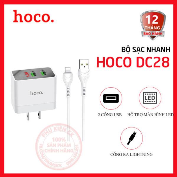 Bộ sạc nhanh Hoco DC28 2 cổng USB 5.0A màn hình led kèm cáp Lightning dài 1m