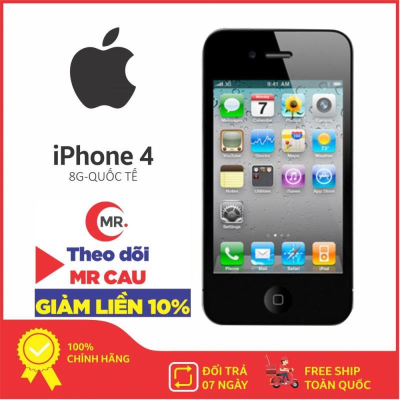 Điện thoại Apple iPhone 4 - 8GB - Bản QUỐC TẾ  - Nghe Gọi Thao tác cảm ứng lên mạng giải trí Chip A4 Ram 512 MB, tặng dây sạc - Đổi trả miễn phí 7 tại nhà - Yên tâm mua sắm với Mr Cầu