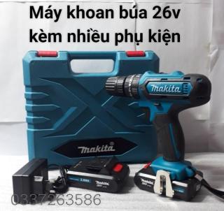 Máy khoan pin có BÚA makita 26v. (kèm 2pin và nhiều phụ kiện) bảo hành 12 tháng thumbnail