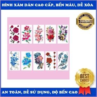 Combo 20 và combo 10 Hình xăm dán Hoa hồng các màu...kích thước 15 x 20cm, Hình xăm có nhiều hình nhỏ có thể tách riêng, phù hợp dán lưng, vai, bắp tay, ngực, bụng, đùi... thumbnail