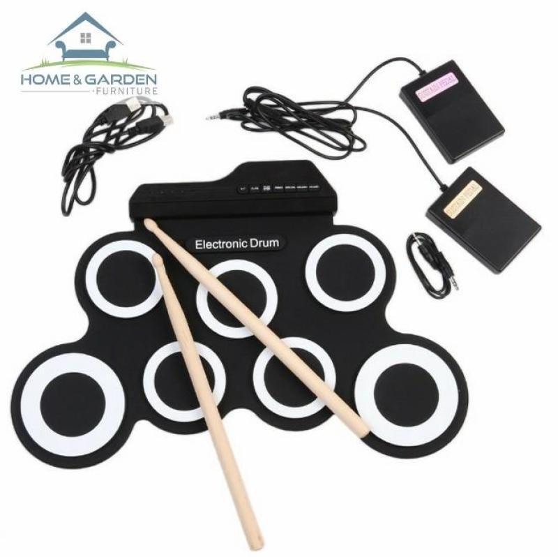 Home And Garden Trống điện tử cho bé học nhạc Electronic Drum Portable USB (Black White)