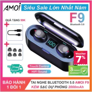 Tai nghe Bluetooth 5.0 AMOI F9 Cảm ứng, Màn Hình Led, Phiên Bản Bluetooth 5.0, Kiêm Sạc Dự Phòng Cho Điện Thoại thumbnail