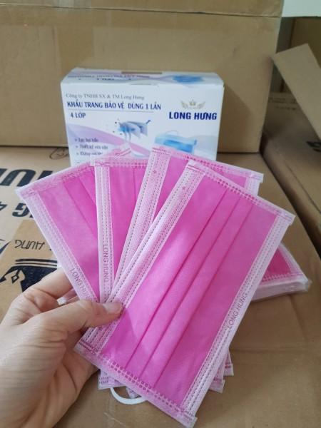 Hộp 50 Chiếc Khẩu Trang y tế 4 lớp màu hồng đẹp