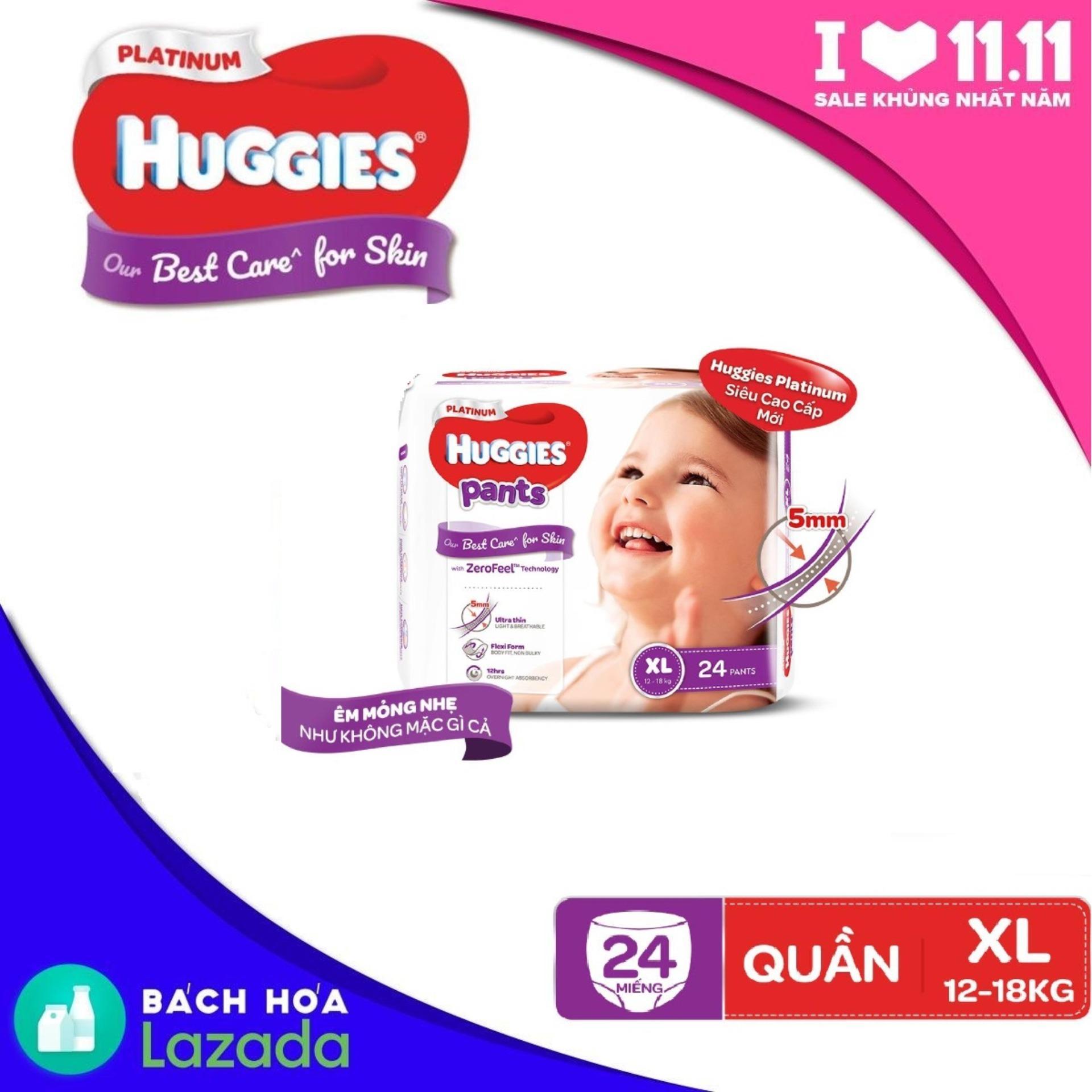 Tã/bỉm quần siêu cao cấp Huggies Platinum XL24 - Gói...