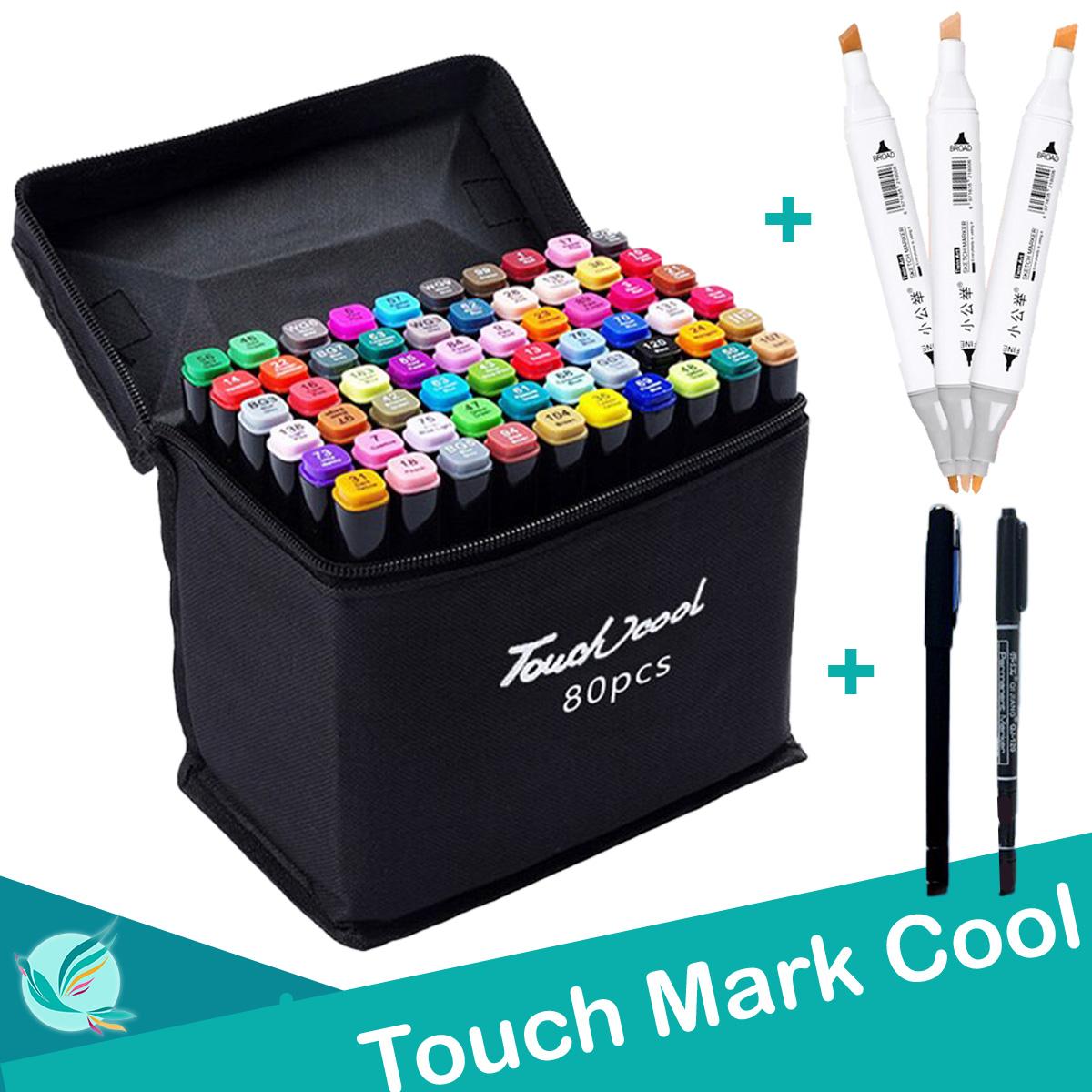 Ưu Đãi Giá cho Bút Màu TouchCool Marker 30/40/60/80 Màu. Tặng Kèm 3 Bút Da +2 Bút Line đen Trắng , Touch Cool Bút Vẽ Chuyên Nghiệp